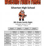 Flyer for 2018 8th grade family night