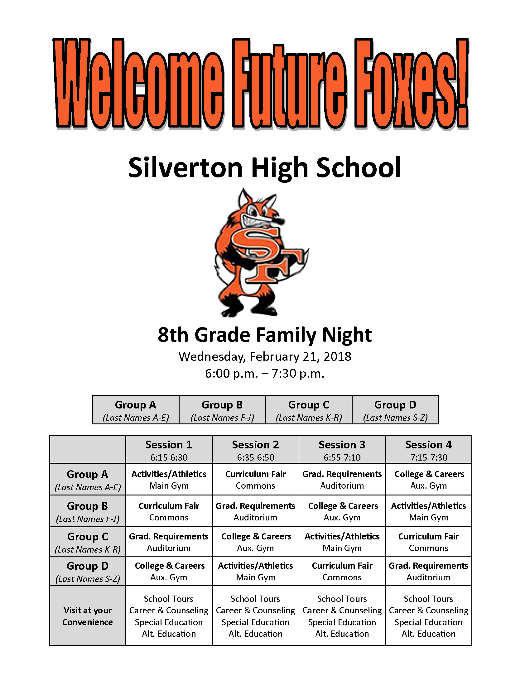 Flyer for 2018 8th grade family night