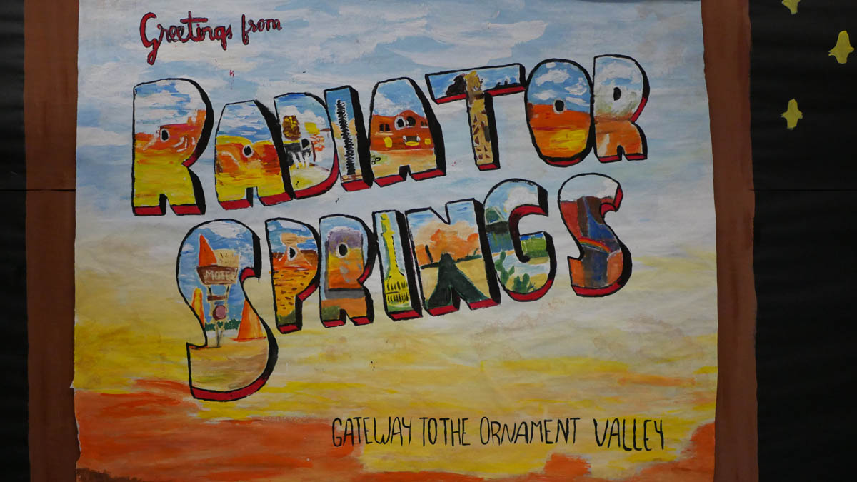 Hand-painted Radiator Springs Sign